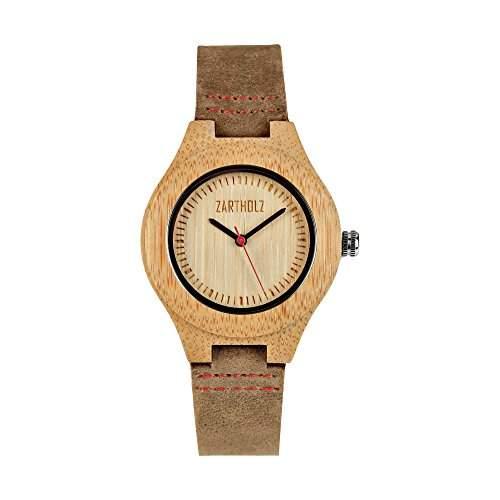 ZARTHOLZ Damen Holz-Armbanduhr Empor Rot 36mm Analog Quarz Lederarmband Braun Bambus ZH002