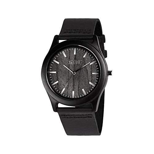 ZARTHOLZ Herren Holz-Armbanduhr Meister aus Ebenholz Holzuhr Schwarz Silber Analog Quarz Lederarmband 45mm ZH003