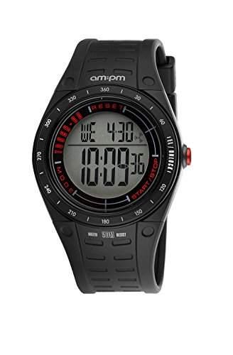AM:PM Unisex-Armbanduhr PC123-U110 Schwarz Kunststoff Alarm Touchpad Digital Quartz