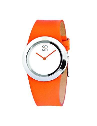 AM:PM Damen-Armbanduhr PD104-L025 Edelstahl Gehaeuses Orange Leder Armband Quartz
