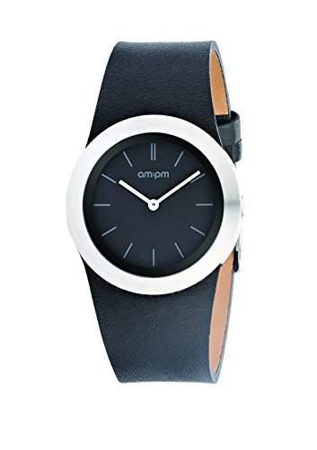 AM:PM Unisex-Armbanduhr PD104-L030 Edelstahl Gehaeuses Schwarz Leder Armband Quartz