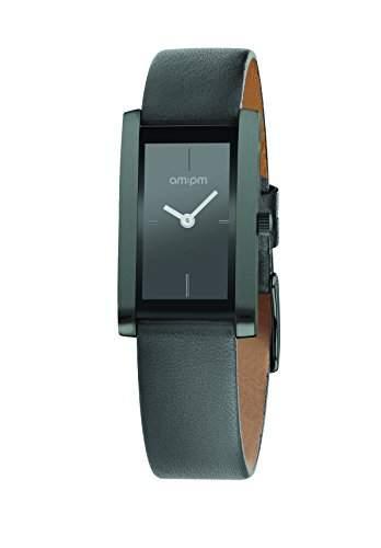 AM:PM Damen-Armbanduhr PD105-L035 IP Stahl Gehaeuses Grau Leder Armband Quartz