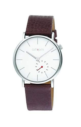 AM:PM Unisex-Armbanduhr PD132-U147 Stahl Gehaeuses Braun Leder Armband Quartz