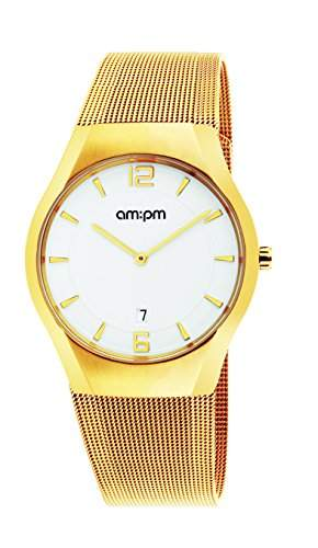 AM:PM Herren-Armbanduhr PD135-G165 Gold IP Stahl Gehaeuses Und Armband Quartz