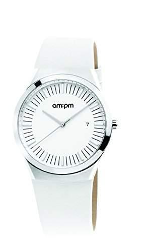 AM:PM Unisex-Armbanduhr PD136-U177 Stahl Gehaeuses Weiss Leder Armband Quartz