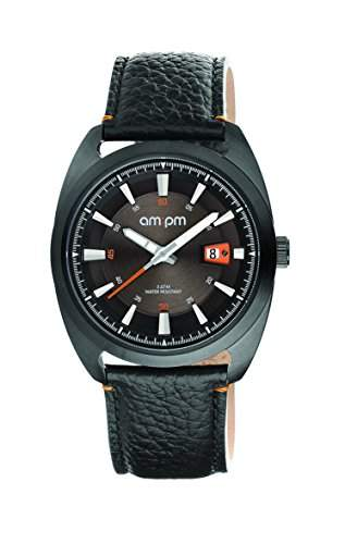 AM:PM Unisex-Armbanduhr PG120-U100 Schwarz IP Stahl Gehaeuses Schwarz Leder Armband Quartz