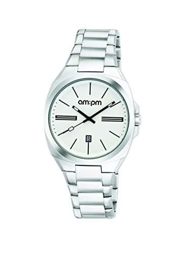 AM:PM Unisex-Armbanduhr PG121-U103 Stahl Gehaeuses Silber Stahl Armband Quartz