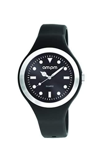AM:PM Unisex-Armbanduhr PM143-U245 Aluminium Silikon Gehaeuses Schwarz Silikon Armband Quartz
