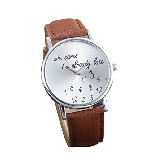Malloom Neue Frauen Leder Uhr Who Cares I am Already Late Briefe Analog Quartz Uhren Braun