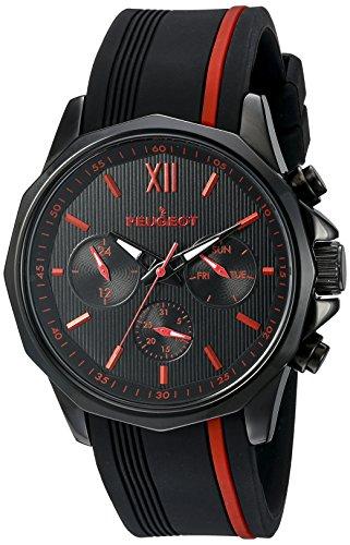 Peugeot Herren 2046brd Chronograph Sport Armbanduhr mit Silikon Band Multi Dial Analog Display Quartz Black Watch