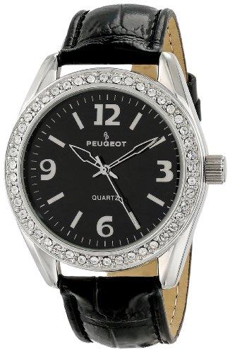 Peugeot Damen 3006BK silberfarbenen Swarovski Crystal Akzent Black Leather Armbanduhr