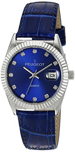 Peugeot Damen 3045bl Silber Ton Blau Leder Armbanduhr