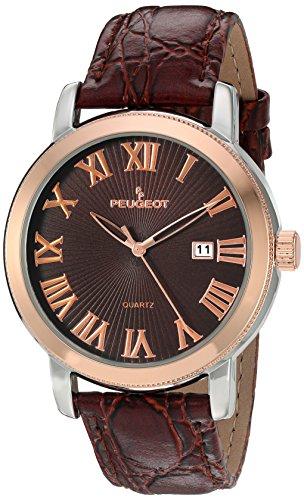 Peugeot Herren Bicolour braun Lederband Kalender Armbanduhr