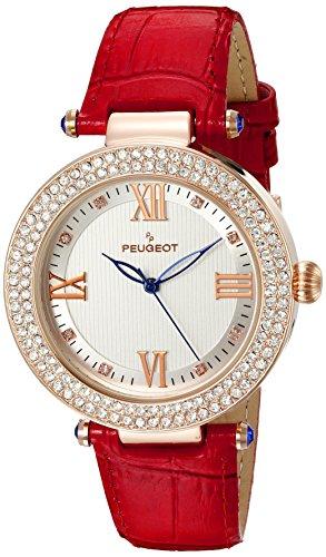 Peugeot Damen Rose Gold Kristall Luenette rot Lederband Armbanduhr