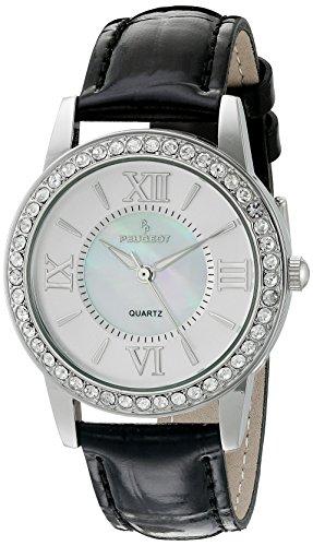 Peugeot Damen Silber Kristall Luenette Schwarz Lederband Armbanduhr