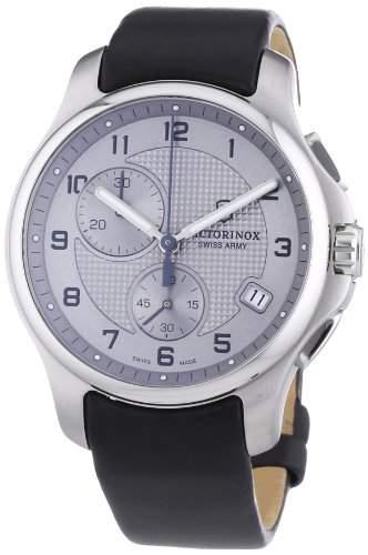 Victorinox Swiss Army Herren-Armbanduhr XL Classic Officers mit Taschenmesser Chronograph Quarz Leder 2415532