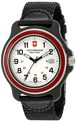Victorinox Herren Armbanduhr 43mm Armband Nylon Schwarz Gehaeuse Plastik Schweizer Quarz Analog 249085