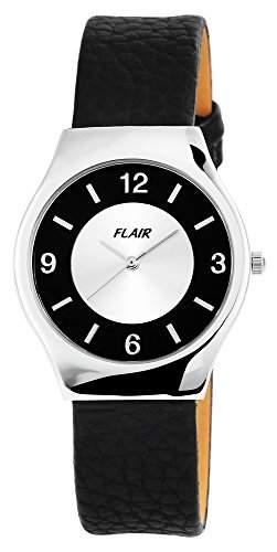 Damenuhr mit Echtlederarmband silberfarbig Armbanduhr Uhr 100322500041