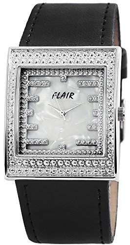 Damen Analog Armbanduhr mit Quarzwerk 100322700017 und Metallgehaeuse mit Kunstlederarmband in Schwarz und Dornschliesse Ziffernblattfarbe Weiss Bandgesamtlaenge 23 cm Armbandbreite 26 mm