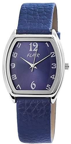 Damen Analog Armbanduhr mit Quarzwerk 100323000068 und Metallgehaeuse mit Kunstlederarmband in Blau und Dornschliesse Ziffernblattfarbe blau Bandgesamtlaenge 22 cm Armbandbreite 18 mm