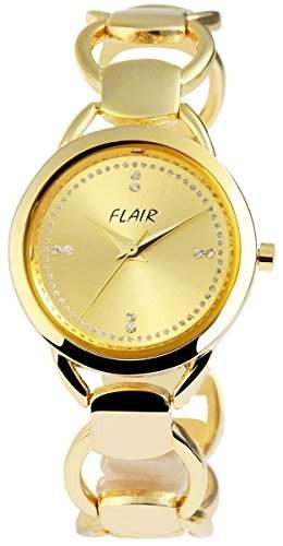 Damenuhr mit Metallarmband Armbanduhr Uhr womens watch Goldfarben 100404000013