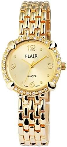 Damenuhr mit Metallarmband Armbanduhr Uhr womens watch Goldfarben 100404000020