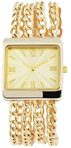 Damenuhr mit Metallkettenarmband goldfarbig Armbanduhr Uhr 100404000063
