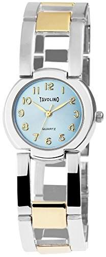 Damen Analog Armbanduhr mit Quarzwerk 100413500026 und Metallgehaeuse mit Metallarmband in mehrfarbig und Clipverschluss Ziffernblattfarbe blau Bandgesamtlaenge 19 cm Armbandbreite 19 mm