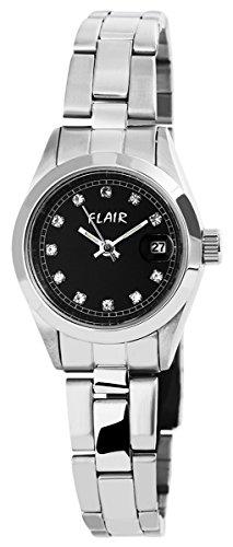Damen mit Quarzwerk 100621000003 und Edelstahl Armband in Silberfarbig mit Faltschliesse Ziffernblattfarbe schwarz Bandgesamtlaenge 18 cm Armbandbreite 14 mm