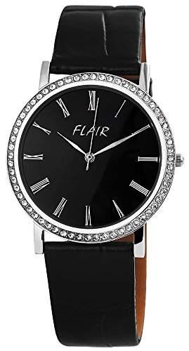 Damen Analog Armbanduhr mit Quarzwerk 100721000006 und Echt Lederarmband in Schwarz mit Dornschliesse Ziffernblattfarbe schwarz Bandgesamtlaenge 23 cm Armbandbreite 20 mm