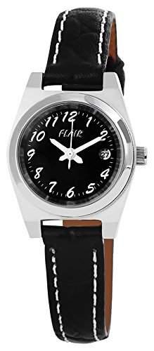 Damenuhr mit Lederimitationarmband Schwarz Armbanduhr Uhr 100721100003