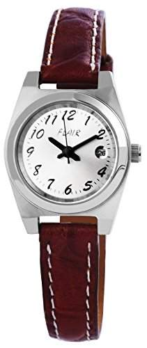 Damenuhr mit Lederimitationarmband silberfarbig Armbanduhr Uhr 100722500003