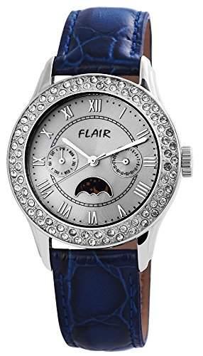 Damenuhr mit Lederimitationarmband Hellblau Armbanduhr Uhr 100723500007