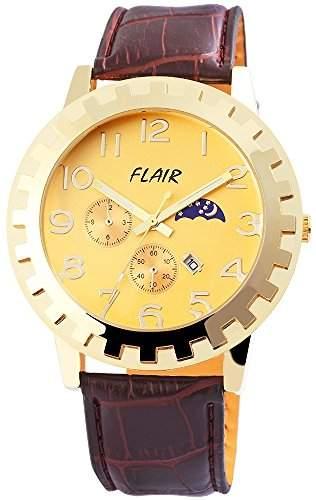 Herrenuhr mit Lederimitationarmband Gelb Armbanduhr Uhr 200304000014