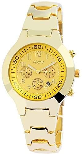Herren Analog Armbanduhr mit Quarzwerk 200404000007 und Metallgehaeuse mit Metallarmband in Goldfarbig und Faltschliesse Ziffernblattfarbe gelb Bandgesamtlaenge 21 cm Armbandbreite 18 mm