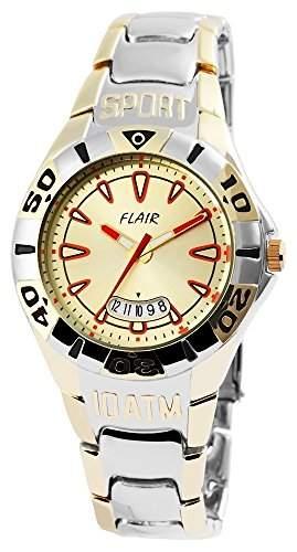 Herrenuhr mit Metallarmband goldfarbig Armbanduhr Uhr 200414000003