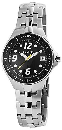 Herren Analog Armbanduhr mit Quarzwerk 200621000002 und Edelstahl Armband in Silberfarbig mit Faltschliesse Ziffernblattfarbe schwarz Bandgesamtlaenge 21 cm Armbandbreite 18 mm