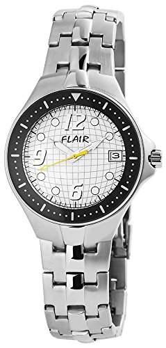 Herrenuhr mit Edelstahlarmband Weiss Armbanduhr Uhr 200622000002