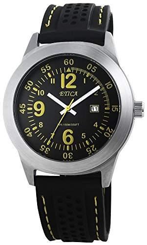 Herren Analog Armbanduhr mit Quarzwerk 200821000013 und Silikonarmband in Schwarz mit Dornschliesse Ziffernblattfarbe schwarz Bandgesamtlaenge 25 cm Armbandbreite 24 mm