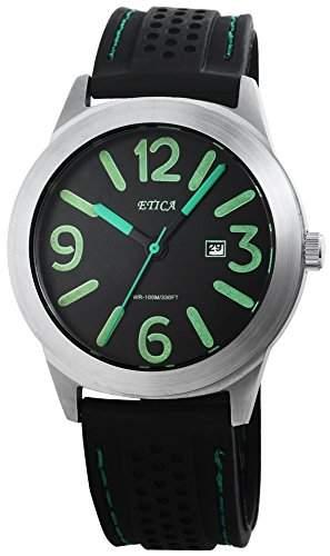 Herren Analog Armbanduhr mit Quarzwerk 200821000014 und Silikonarmband in Schwarz mit Dornschliesse Ziffernblattfarbe schwarz Bandgesamtlaenge 25 cm Armbandbreite 24 mm