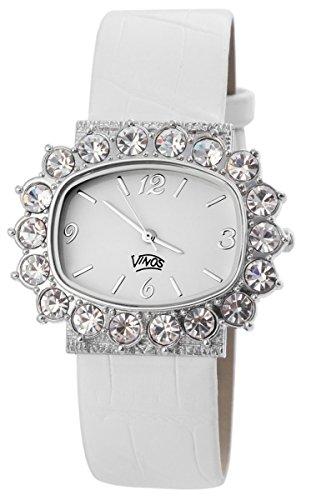 Damenuhr mit Lederimitationsarmband Armbanduhr Uhr Weiss 100322000145