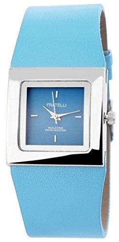 mit Lederimitationsarmband Armbanduhr Uhr Hellblau 100323500123
