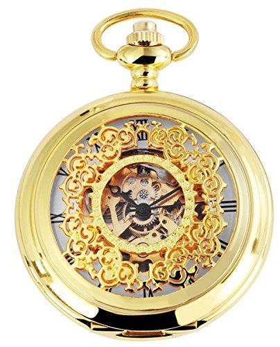 Taschenuhr mit Mechanikwerk 485602000002 Goldfarbiges Gehaeuse im Masse 47mm x 14mm mit Ziffernblattfarbe Weiss Goldfarben und Mineralglas