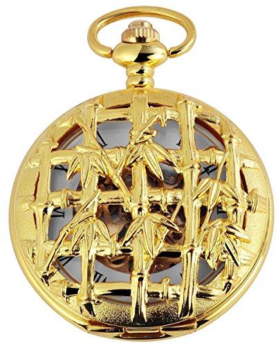 Taschenuhr mit Mechanikwerk und Motiv Bambus 485602000003 Goldfarbiges Gehaeuse im Masse 47mm x 16mm mit Ziffernblattfarbe Weiss Goldfarben und Mineralglas