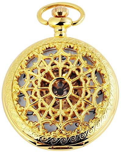 Taschenuhr mit Mechanikwerk 485602000011 Goldfarbiges Gehaeuse im Masse 47mm x 15mm mit Ziffernblattfarbe Weiss Goldfarben und Mineralglas