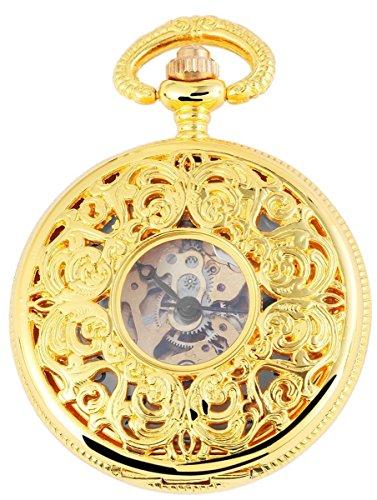 Taschenuhr mit Mechanikwerk Skelett 485602000013 Goldfarbiges Gehaeuse im Masse 47mm x 16mm mit Ziffernblattfarbe Weiss Goldfarben und Mineralglas