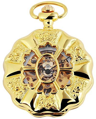 Taschenuhr mit Mechanikwerk 485602000014 Goldfarbiges Gehaeuse im Masse 49mm x 14mm mit Ziffernblattfarbe Weiss Goldfarben und Mineralglas