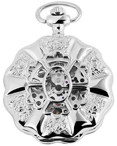 Taschenuhr mit Mechanikwerk 485622000014 Silberfarbiges Gehaeuse im Masse 49mm x 14mm mit Ziffernblattfarbe Weiss Silberfarben und Mineralglas