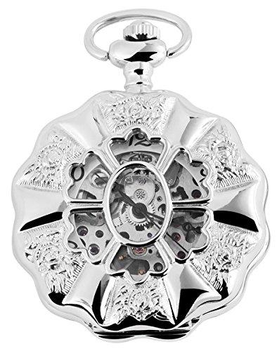 Taschenuhr mit Mechanikwerk 485622000015 Silberfarbiges Gehaeuse im Masse 49mm x 14mm mit Ziffernblattfarbe Weiss Silberfarben und Mineralglas