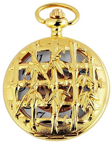 Taschenuhr mit Mechanikwerk und Motiv Bambusgitter 485602000004 Goldfarbiges Gehaeuse im Masse 47mm x 16mm mit Ziffernblattfarbe Weiss Goldfarben und Mineralglas